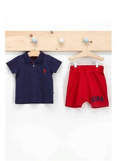 U.S. Polo Assn. Lisanslı Mavi Erkek Bebek Dik Yaka T-Shirt Takım Lacivert